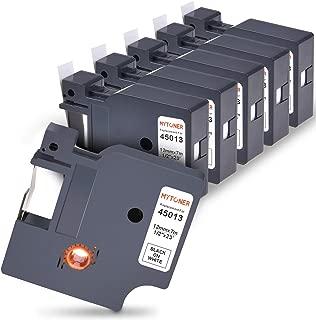 MYTONER 12mm D1 45013 Compatible Dymo Label Tape S0720530 Black on White 1/2 Inch 23 Feet Standard Labeling Tape for Dymo LabelManager 160 210D 260P 280, LabelMaker 450D Label Makers (6 Cartridges)