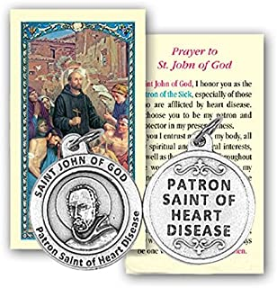 Saint John of God Patron of Those with Heart Disease Religious Prayer Card with Zinc Oxidized Medal Blessed by Pope Francis