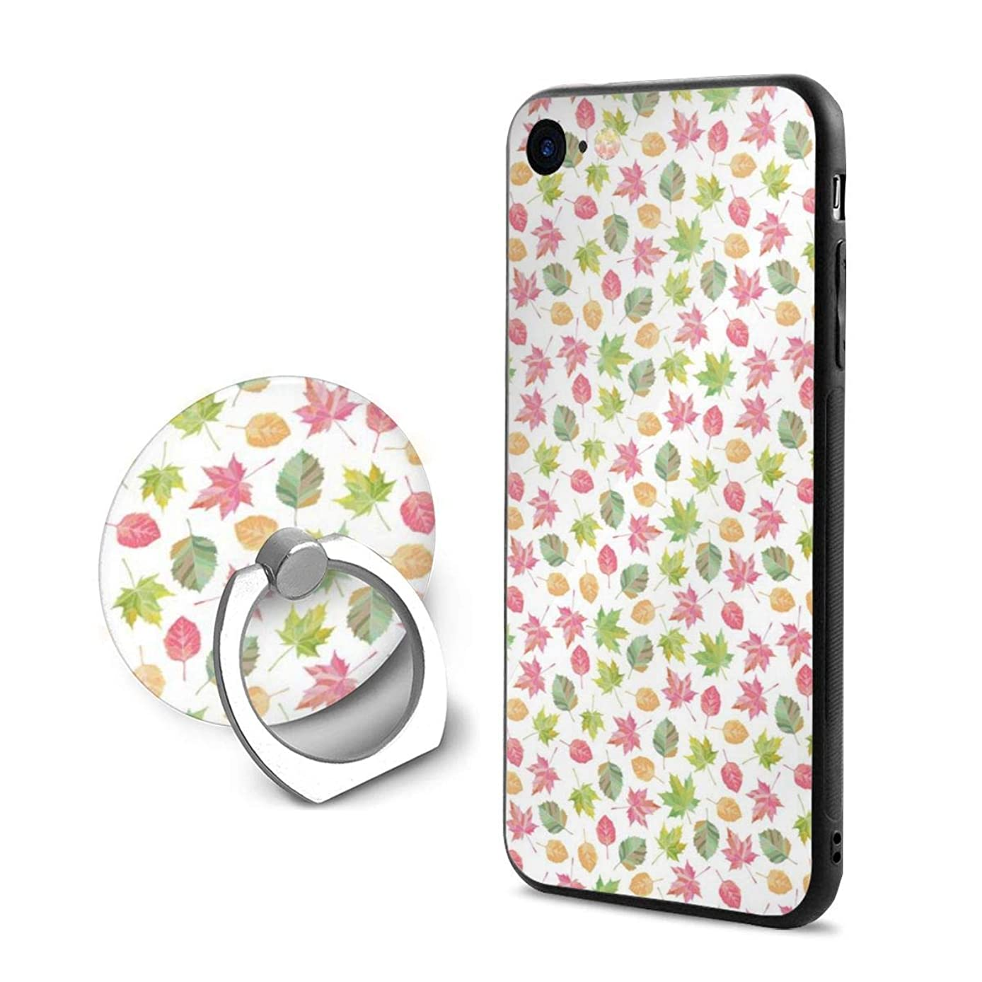 iPhone 7/8 Case Fall Leaves Pattern Vector 360 Degree Rotating Ring Kickstand Case for iPhone 7/8