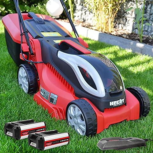 HECHT kompakter Akkurasenmäher mit 2 x 20V Li-Ion Accu und Ladegerät, 32 cm Schnittbreite, 26 l Fang-korb, extra leicht & leise, für einen gepflegten Rasen im Garten ohne Strom-Kabel - Rasenmäher Akku