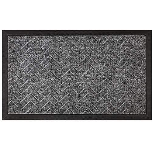 Gorilla Grip Original Durable Natural Rubber Door Mat, Waterproof, 23x35, Low Profile, Heavy Duty Doormat for Indoor and Outdoor, Easy Clean, Rug Mats for Entry, Patio, Busy Areas, Steel Chevron