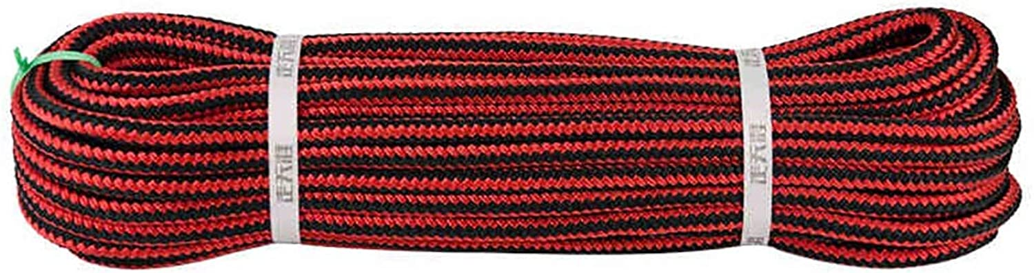 Climbing Rope Static Rope Outdoor Mountaineering Escape Aerial Work Rope Speed Drop Rope 12mm in Diameter Reddish Black