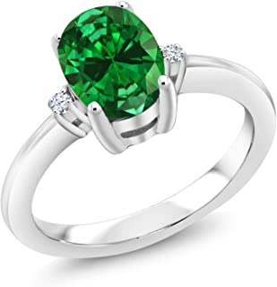 Sterling Silver Green Simulated Emerald & White Topaz Women's 3 Stone Engagement Ring 2.14 cttw (Available 5,6,7,8,9)