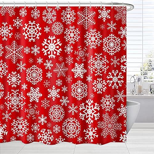 BROSHAN Weihnachts-Duschvorhang rot & weiß, Winterurlaub, Schneeflocken, Kunst, Baddekoration, Weihnachtsstoff, Badezimmer-Dekor-Set mit Haken, 183 x 183 cm
