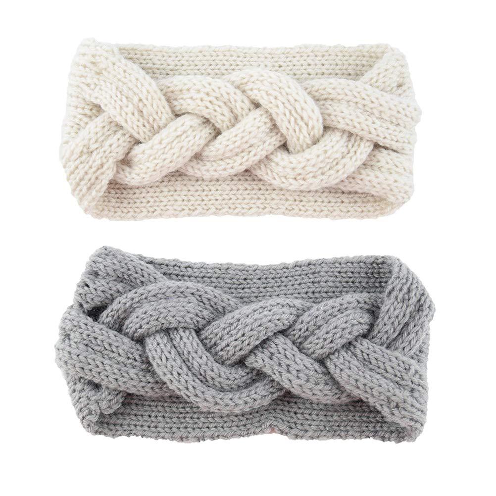 Lurrose 2Pcs Crochet Twist Headband Winter Soft Ear Warmer Headband for Women Girls (Beige, Gray)