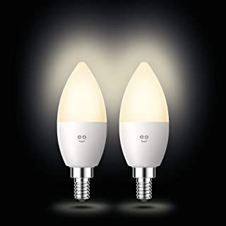 Geeni LUX Candle Candelabra Bulb E12 Base Smart Light Bulbs, Dimmable Tunable E12 Light Bulb 40W Equivalent, Candle Bulb Chandelier Light No Hub Required Works with Alexa The Google Assistant, 2 Pack