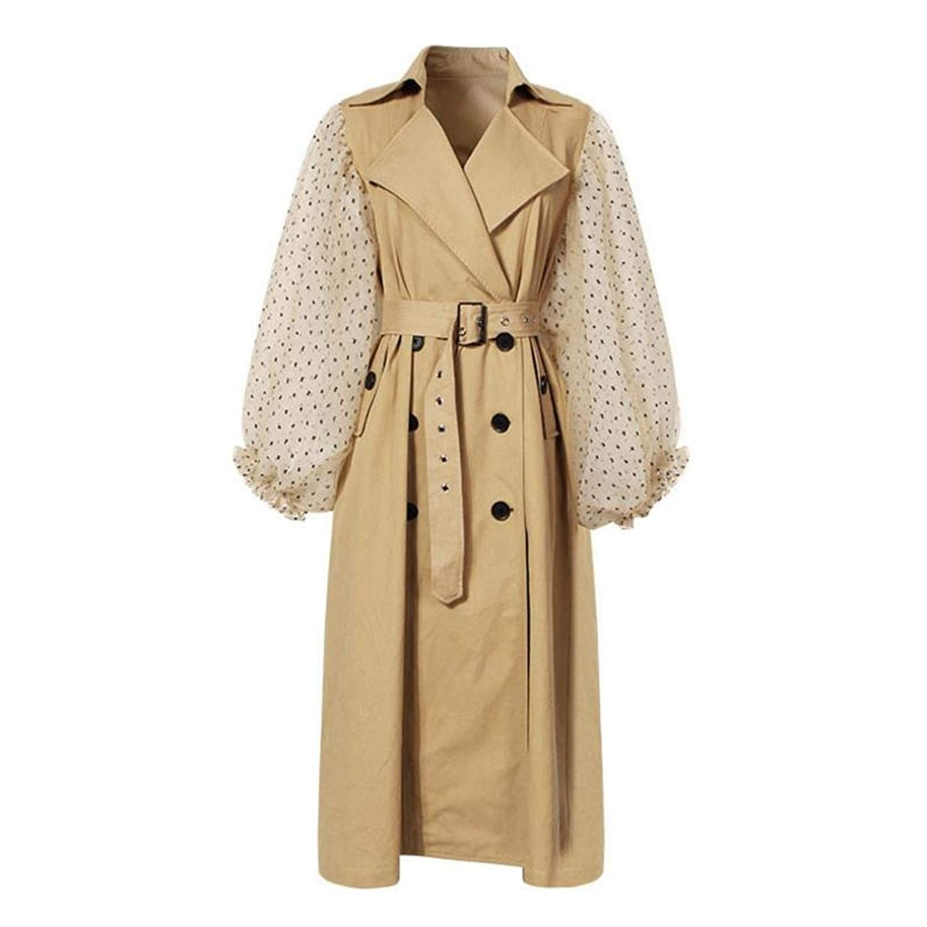 Autumn mesh Patchwork Women's Long Trench Coat