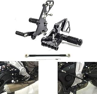 MZS Adjustable Rearsets Footrests Footpegs Rear Sets CNC compatible Yamaha FZ-07 FZ07 MT-07 RM07J 2014 2015 2016 2017 2018 Black