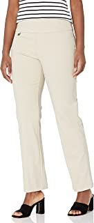 SLIM-SATION womens Misses Pull On Solid Knit Flare Leg Pant with Tummy Panel Pants