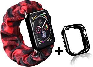 Red Buffalo Plaid Scrunchie Watch Band for Apple Watch with Black Watch Case,Cute Soft Scrunchy Watch Band Elastic Strap Compatible/Replacement with Iwatch 38mm 40mm Series 1-5(Red Plaid,38MM/40MM)
