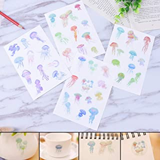 ONOR - tech 4 Sheets Jelly Fish Lovely Decorative Adhesive Sticker Tape Kids Craft Scrapbooking Sticker Set for Diary Album