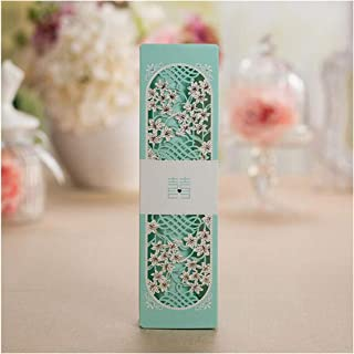 50Pcs Wedding Invitation Card Blue Scroll Laser Cut Box Packed with Knot Printable Wedding Decoration Supplies,Tiffany Blue