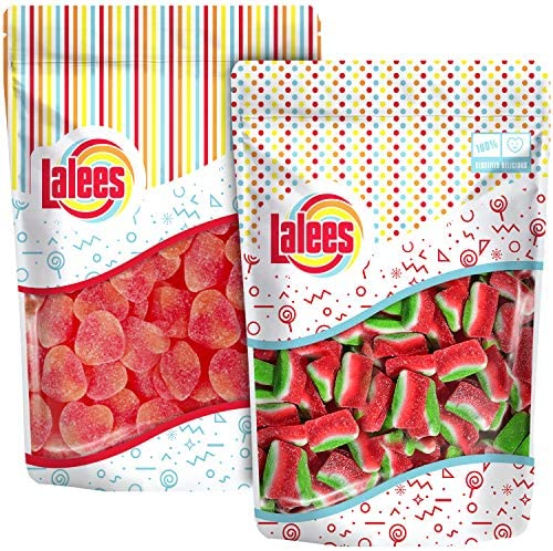 Lalees Peaches and Watermelon Slices Bulk Candy Unwrapped Mini Fruit 2 Pack of 1 Pound Each product image