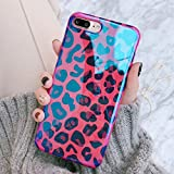 Keklle Girls Theme iPhone Soft Case, Pink Blue Cute Animal Print iPhone Cover Blue-Ray Exotic Girly Fashion Stylish iPhone Case (Rose Red Leopard, iPhone 7 Plus/8 Plus)