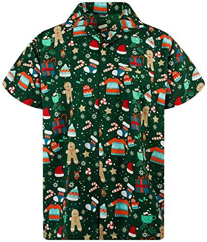 Funky Hawaiihemd Weihnachten, Christmas Gingerbread, grün, XL