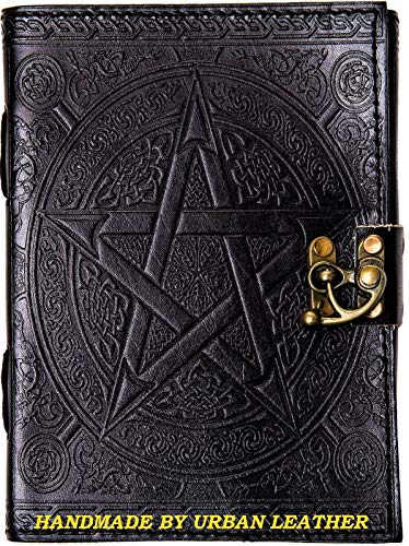 Urban Leather Book - Black Pentagram Journal - Handmade Vintage Sketchbook Writing Notebook, Unlined