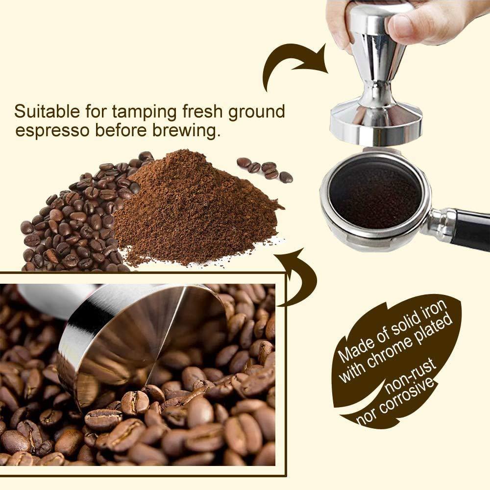 NEOUZA Máquina de café expreso Tamper Barista café en polvo prensa de granos de base plana chapada en cromo 49 mm: Amazon.es: Hogar