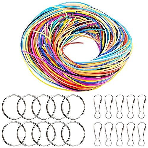 AILANDA 200pcs Scoubidou Bänder Scoubidou Flechtschnüre in 20 Farben Scoubidou Bastelset mit Schlüsselanhänger und Haken Scobido Bänder für Schlüsselanhänger Armband Schmuck