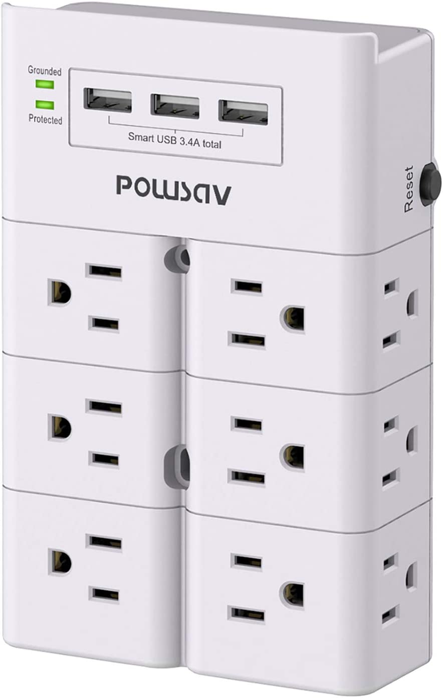 Multi Plug Outlet, Outlet Splitter, POWSAV Surge Protector Wall Mount with 12-Outlet Extender and 3 USB Ports(Smart 3.4A Total) for Home, Office, Dorm Essentials, Hotel, White, ETL Listed