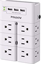 Multi Plug Outlet, Outlet Splitter, POWSAV Surge Protector Wall Mount with 12-Outlet Extender and 3 USB Ports(Smart 3.4A T...