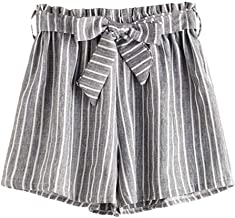 JOFOW Womens Shorts Vertical Striped Strappy Loose A Line Mini Pants
