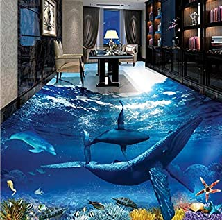 3D Wall Mural Flooring Ocean Dolphin Photo Wallpaper Mural Floor PVC Waterproof Floor Mural Painting-140x70cm