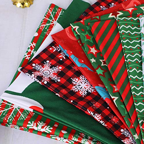 Christmas Fat Quarters Fabric Bundles 19.68x19.68 Inch 10 Pack Brushed Fabric DIY Craft Quilting Precut Squares Fabric Scraps for Sewing Patchwork Gift Wrapper