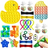 Aribicora 25 Pack Fidget Set Toy for Adults, Cool Things Duck Ice-Cream Fidget Sensory Toys Anxiety Relief Toys Ball, Bean, Keychain, Net Beads, Stretchy String