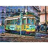 WQHLSH Lisboa Acuarela Ciudad Calle autobús de tranvía Arte Lienzo Pintura Pintura Morden Graffiti Imagen de Pared Sala de Estar decoración del hogar Cartel 24x36inchx1 Sin Marco