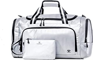 """Sport Duffle Bag for Men and Women, 24"""" Gym Bag Overnight Weekender with Shoe Compartment, Wet Pocket and Insulated Pocket, Silver"""