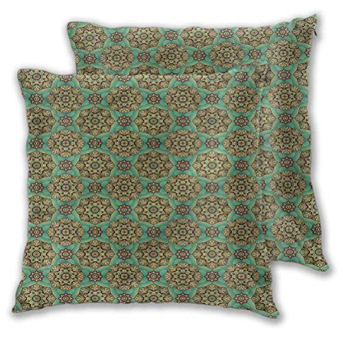 Youdeem-home Pillow Covers Decorative Oriental Swirls for Sofa Couch Decoration 16' x 16' | Set of 2 (Insert Not Included)