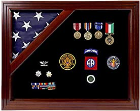 product image for Military Award Shadow Box with Display Case for 5x9.5ft Flag - Felt in Black, Blue, or Red (Black Selected)
