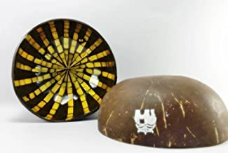 Beautifully Made And Charming Coconut Shell Lacquer With Shell And Eggshell, Fancy Coconut Shell, Decorative Bowl Centerpiece, Unique design, Best For Collection/ Wedding/ Birthday Gift (Kala07)