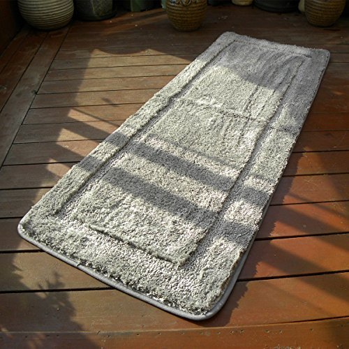Hihome Microfiber Bath Runners Rubber Backing Non-Slip Bedroom Runner Rugs and Mats(18 x 47, Grey)