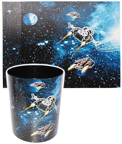 alles-meine.de GmbH 2 TLG. Set _ Schreibtischunterlage & Papierkorb -  Weltraum - Space - Raumschiff  - Schreibtischset - aus Kunststoff - Mülleimer / Eimer - Tischunterlage / ..