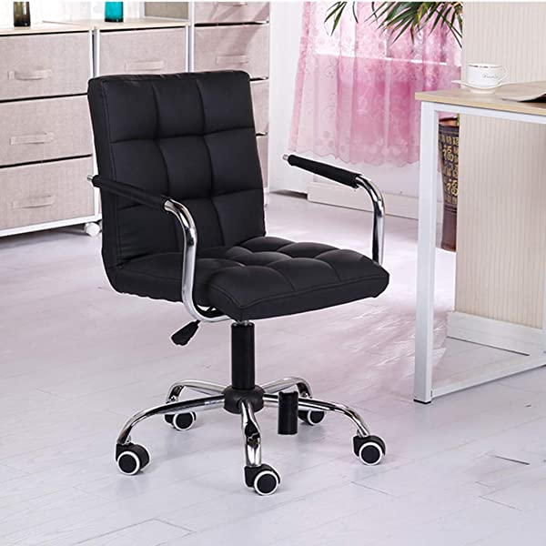Mid Back Task Leather Chair Desk Unine Height Adjustable Computer White Stool With Arm Lift Rolling Swivel Office Work Beauty Salon Bench With Aluminum Alloy Base Wheels For Work Massage Shop