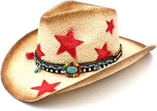 JAUROUXIYUJI New Women Men Straw Western Cowboy Hat with Bohemian Tassel Ribbon Star Lady Dad Sombrero Hombre Cowgirl (Color : Natural, Size : 58cm)