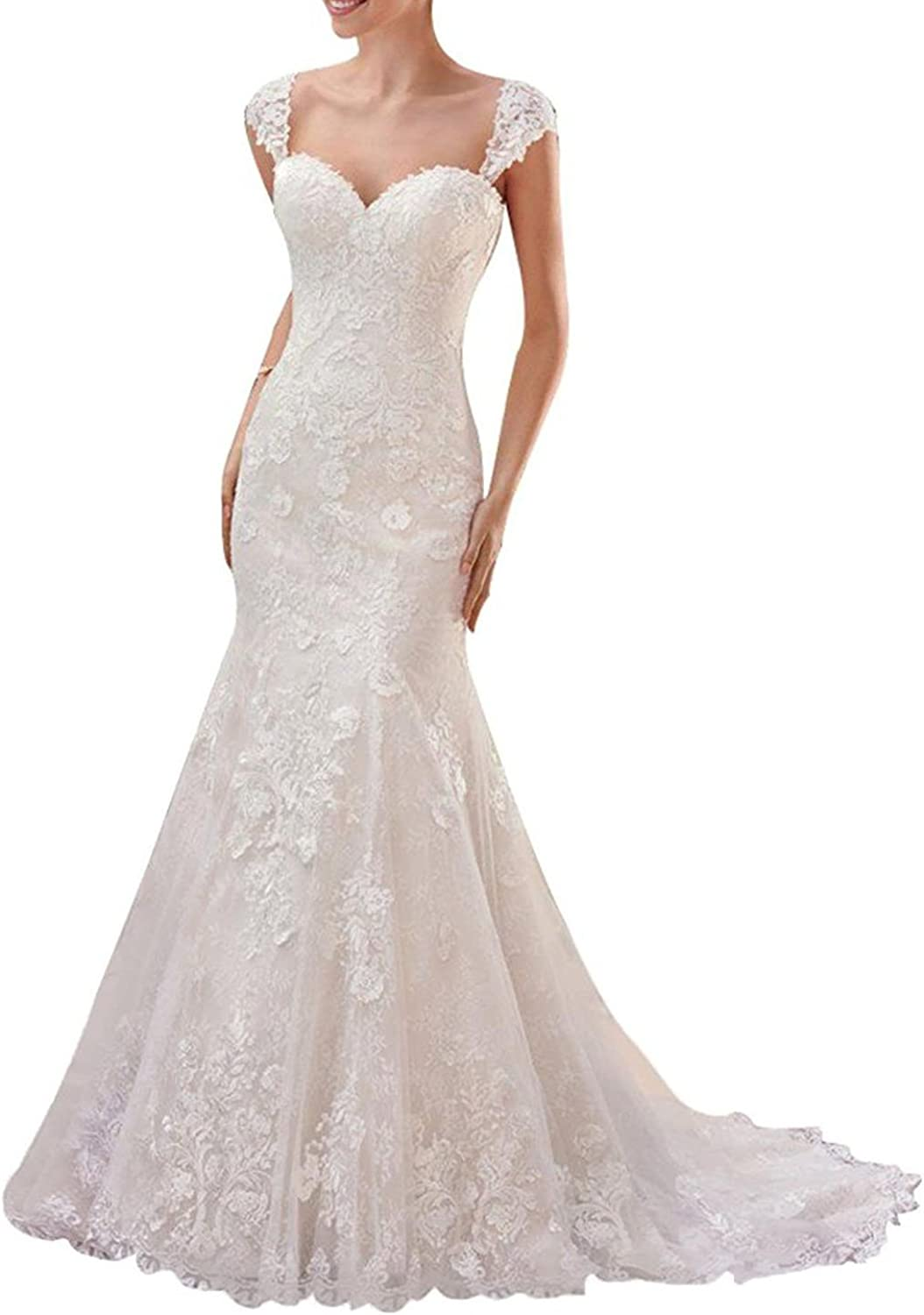 Baixia Straps Lace Wedding Dress Bridal Ball Gowns Backless