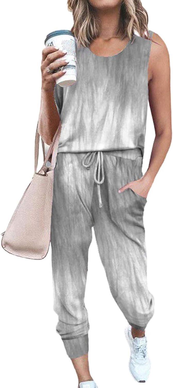 Women's Two Piece Lounge Wear Crewneck Tank Tops with Long Pants Matching Set