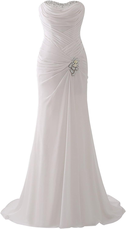 Epinkbridal Boho Style Beach Wedding Dress Gowns for Bride Crystal Beaded Evening Dress