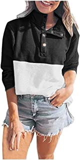 KLFGJ Women's Winter Oversized Pullover with Button Loose Streetwear Warm Tops Knitted Blouse Leisure Sweatshirt