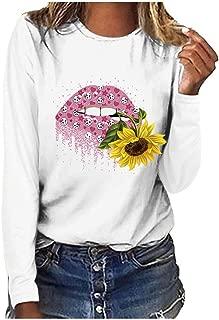 VigorY❀ Sunflower T-Shirt Women Cute Funny Graphic Tee Teen Girls Casual Long Sleeve Shirt Tops Loose T Shirt