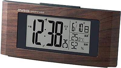 MAG(マグ) 目覚まし時計 電波 デジタル ウッドライン 温度 湿度 カレンダー表示 木目調 ブラウン T-743BR-Z
