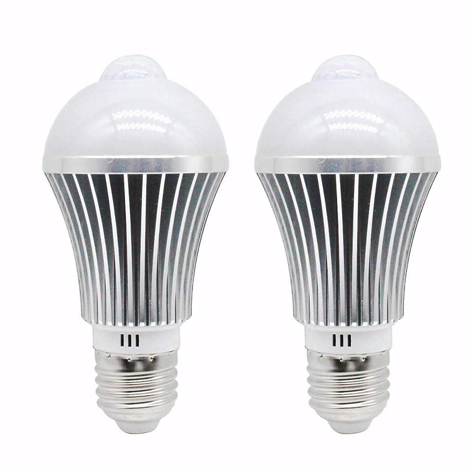 植生背骨下位ZY センサーライトLED電球 昼白色 E26 7W 人感センサー付き キッチン 階段 玄関などに最適2個入り