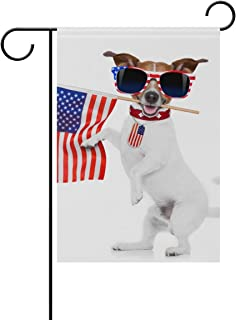 amuseds Garden Flag Decorative Jack Russell Dog Holding Flag Of USA Polyester Double Sided Printing Fade Proof for Outdoor Courtyards Garden 12x18 inch