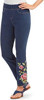 Floral Rose Embroidered Pull-On Denim Ankle Pants with Elastic Waistband and Faux Front Pockets