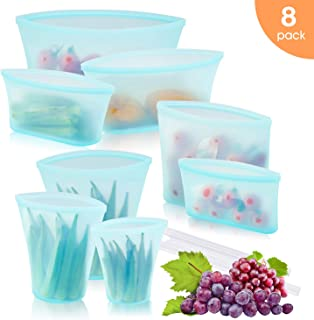 Reusable Silicone Food Storage Bag, Zip Lock Top Leakproof Containers Stand Up Preservation Bag with Slider for Fruits Vegetables Snacks Liquid, Microwave Dishwasher & Freezer Safe (8Pcs Set(Blue))