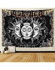 LOMOHOO Tapiz Tarot Sol y Luna Tapiz Psicodélico Colgante de Pared Celeste Tapices de Pared Indio Mandala Bohemio (A-Sun and Moon, M/130cmX150cm)