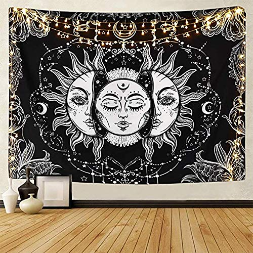 LOMOHOO Tarot-Wandteppich Sonne und Mond Psychedelische Tapisserie Schwarz Himmlisch Wandbehang Wandteppiche indisch Mandala Bohemien Hippie Strand werfen (A-Sonne und Mond, L/148cmx200cm)