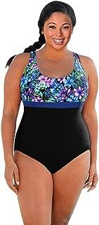 Chlorine Resistant Aquamore Mai Tai Plus Size Print Block Scoop Neck One Piece Swimsuit